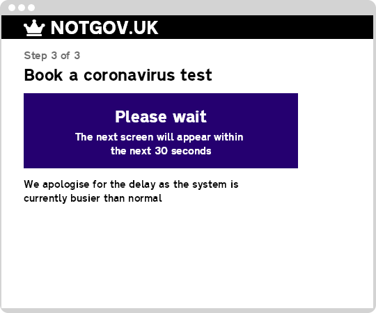 Sample GOV.UK coronavirus test form waiting for a slower backend system