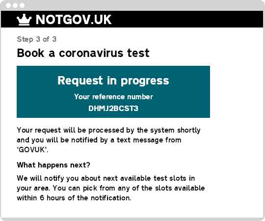 Sample GOV.UK coronavirus form telling the user their request is being processed by a backend system.
